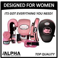 JUST NOT PINK! All black(:...Pink Female Boxing Training Pack Gloves Mitts Pad Women