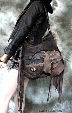 Brown leather bag few tones distressed  hobo tribal african