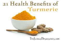 21 Health Benefits of Turmeric (plus some delicious recipes) // deliciousobsessions.com