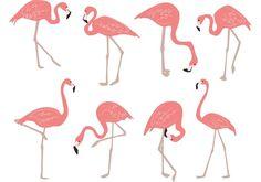 Hand Drawn Flamingo Vectors