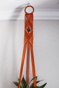 Rust Macrame Plant Hanger by FromAgnes on Etsy
