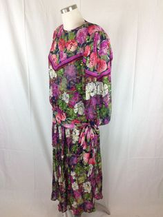 Diane Freis Dress Georgette Sequin Floral Gypsy 2pc SheerPleated Vtg 80's  #DianeFreis #BlousonGypsyBoho #WeartoWork
