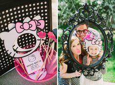 Mini photo booth and themed props at a Hello Kitty themed birthday party