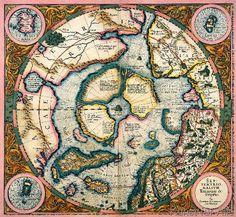 Gerardus Mercator - Septentrionalium terrarum descriptio, map of the Arctic, 1595