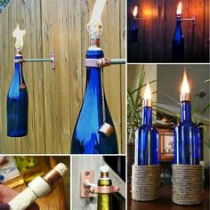 DIY Wine Bottle Tiki Torches perfect for summer! Wine Bottle Tiki Torch, Wine Bottle Art, Lighted Wine Bottles, Diy Bottle, Bottle Lights, Wine Bottle Crafts, Wine Bottle Chandelier, Beer Bottle, Vodka Bottle
