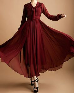 Burgundy Sleeved Maxi  |  Finally found! | 2014 Spring New Women Fashion Elegant Maxi Dress Slim Long Sleeve Open Fork Dresses Expasion Buttom Female Chiffon Dress-in Dresses from App...| tags: hijab, hijab style, hijab fashion Muslim Fashion, Hijab Fashion, Elegant Maxi Dress, Shalwar Kameez, Burgundy Dress, Types Of Fashion Styles, Chiffon Dress, Autumn Fashion, Georgette Dresses