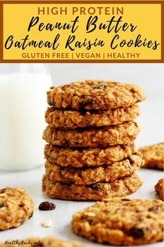 These Healthy High Protein Peanut Butter Oatmeal Raisin Cookies make the perfec Healthy Gluten Free and Dairy Free Recipes Healthy Oatmeal Cookies, Healthy Protein Snacks, Healthy Vegan Desserts, Healthy Cookie Recipes, Oatmeal Raisin Cookies, Dairy Free Recipes, Healthy Late Night Snacks, Gluten Free, Quick Snacks
