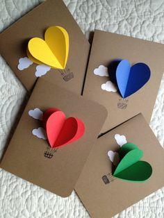 Corazón tarjetas de globo de aire caliente-juego de 4