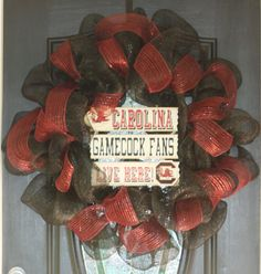 """The boys of Fall! This 30"""" Deco Mesh South Carolina Football wreath is fun and makes quite a statement on your door for the 2012 Football season!    Please feel free to contact me if you have any questions! For more wreath of different seasons, holidays, and special occasions, please see visit: http://www.etsy.com/shop/hgab129"""