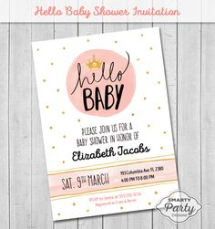 Hello Baby Shower Invitations Invite Watercolor Crown You Print Printable Personalized Pink Gold 5x7 or 4x6 by SmartyPartyDesigns on Etsy