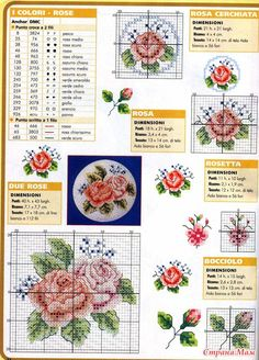 Схемы вышитых роз
