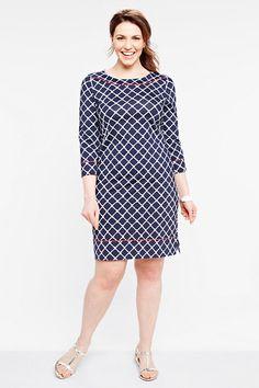 7b121b352e279 Women s Plus Size Pattern Knit Piped Beach Tunic Dress from Lands  End Plus  Size Patterns