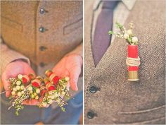 So awesome. Bullet bootineers for the groomsmen.