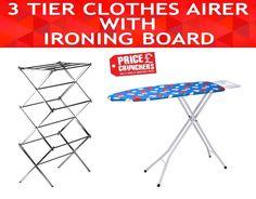 HIGHLANDS Deluxe Wide Metal Ironing board & Wooden Top Adjustable Iron Rack #Highlands