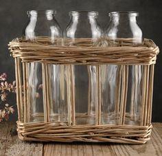 Glass Milk Bottles in Willow Basket (Set of 3)