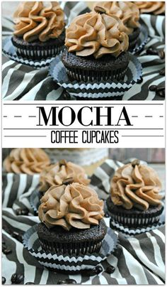 You are going to love these Mocha Coffee Cupcakes. What could be better than mocha and coffee together? This is the perfect dessert to serve your book club or friends at the end of a party. The cake is just slightly sweet, and little bit of coffee flavor Just Desserts, Delicious Desserts, Dessert Recipes, Yummy Food, Desserts Caramel, Delicious Cupcakes, Food Cakes, Cupcake Cakes, Muffin Cupcake