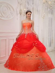 Affordable Orange Red Quinceanera Dress Strapless Taffeta and Tulle Appliques Ball Gown  http://www.fashionos.com  http://www.facebook.com/fashionos.us  Strapless dresses are one of the sexier styles on the market today. They show just enough skin to be classy without being too revealing.Beads embellished and exquisite applique make this gorgeous prom dress sophisticated and tasteful. Fitted bodice with body-hugging waist can outline your slim figure and charming curve.
