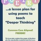 This lesson plan gives three detailed pages of directions including photographs to show how the lesson unfolds. The objective of the lesson is to help intermediate students begin to tackle more challenging reading material and to process it at a deeper level. As we know, the Common Core is asking us to push our students toward deeper understanding--and this lesson can help you do that.