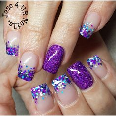 Purple glitter nails, purple acrylic nails, acrylic nail tips, glittery nails, glitter Purple Glitter Nails, Glittery Nails, Glitter Dust, Glitter Force, Nail Swag, French Nails, Gel Nagel Design, Nagel Hacks, Nagel Gel