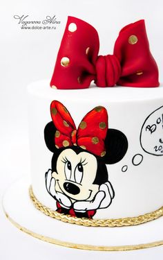 Ideas For Birthday Cake Simple Girl Minnie Mouse Bolo Do Mickey Mouse, Minnie Mouse Birthday Theme, Mickey And Minnie Cake, Bolo Minnie, 4th Birthday Cakes, Minnie Mouse Cake, Cake Designs For Girl, Fondant Cake Designs, Friends Cake