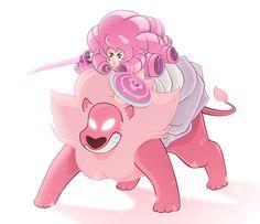 lingkon:Rose Quartz + Lion(steven universe)