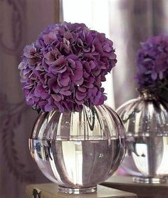 clear vase & luscious Purple flowers