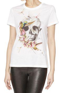 ROMWE | Skull Print White T-shirt