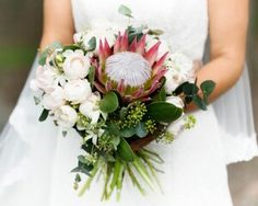 Bride's Bouquet: Pink King Protea, White Peonies, White/Mint Flannel Flowers, Green Seeded Eucalyptus