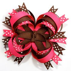 Fall Autumn Brown Hot Pink Stacked Boutique Hair Bow