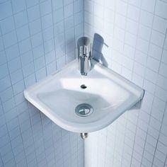 Duravit Starck 3 Ceramic 17 Corner Bathroom Sink with Overflow Corner Sink Bathroom, Bathroom Cupboards, Small Bathroom Sinks, Wall Mounted Bathroom Sinks, Undermount Bathroom Sink, Tiny House Bathroom, Bathroom Fixtures, Bathroom Ideas, Handicap Bathroom