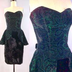 c84860756ed2 S McClintock 80s Dress Vintage 1980s Velvet Party Dance Cocktail Dress 31  bust #ScottMcClintock #