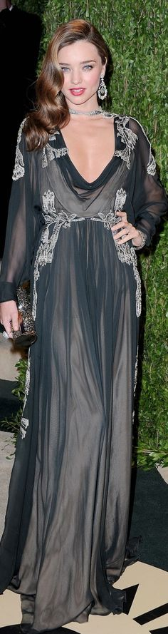 Miranda Kerr...2013 Vanity Fair Oscar Party. A lot of people didn't like this dress, but I think it has something Old Hollywood & soft about it :)