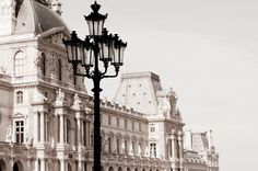 Paris Photography - The Louvre, Classic Black and White Sepia Photograph, Urban Home Decor, Wall Art, French Architecture Paris Photography, Fine Art Photography, Tour Eiffel, Budapest, Louvre Museum, Urban Home Decor, Tessa Gray, Paris 3, Paris Louvre