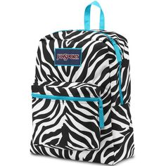 Jansport Over Exposed Blue Zebra Backpack ($36) ❤ liked on Polyvore featuring bags, backpacks, padded backpack, jansport daypack, zebra print backpack, zebra stripe backpack and zebra striped backpack