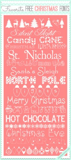 Adorable Free Christmas Fonts! These are so festive and cute!