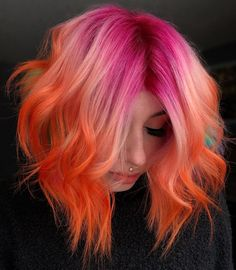 Orange Ombre Hair, Pink Hair Streaks, Pink And Orange Hair, Dark Pink Hair, Rose Pink Hair, Bright Pink Hair, Vivid Hair Color, Pink Hair Dye, Pastel Pink Hair