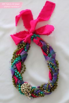 fabric and bead plaited necklace