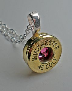 45 Long Colt Winchester Brass Bullet Head Necklace Your Choice of Swarovski Birthstone by wildwestjewelryshop on Etsy https://www.etsy.com/listing/152165000/45-long-colt-winchester-brass-bullet