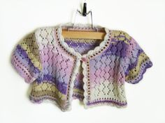 Knitted Baby Bolero Jacket  Lavender 2  3 years by SasasHandcrafts, $44.00