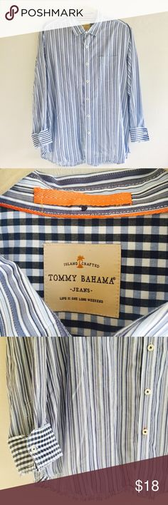 Tommy Bahama Blue Striped Button Up Casual Shirt Tommy Bahama Blue Striped Button Up Casual Shirt  100% Cotton  Mens XL Preowned good used condition Tommy Bahama Shirts Casual Button Down Shirts