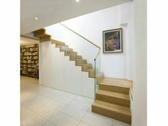 Folded staircase with base cabinet- Faltwerktreppe mit Unterbauschrank Folded staircase with base cabinet - Stairs In Living Room, House Stairs, Basement Steps, Entry Stairs, Modern Mountain Home, Steps Design, Modern Stairs, Interior Stairs, Medan