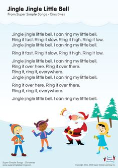Lyrics poster for Jingle Jingle Little Bell Christmas song from Super Simple Learning. Christmas Songs For Toddlers, Preschool Christmas Songs, Xmas Songs, Christmas Poems, Christmas Program, Christmas Concert, Preschool Music, Christmas Music, Songs For Children