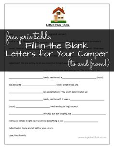 """Send a fun letter to your child at camp with this fun """"Mad Libs"""" style fill-in-the-blank letter from home"""
