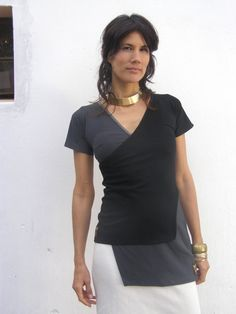 Womens clothing-womens blouse- Asymmetric summer top- Two layers top-Grey and black top