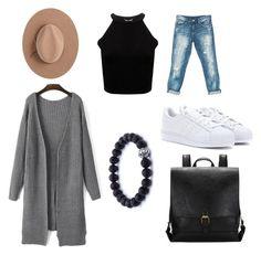 """Chanyeol's Style ."" by theyaddoorreeyza ❤ liked on Polyvore featuring Sans Souci, adidas and Satya Twena"