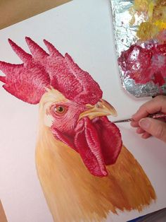 I keep touching up as I go. Painting Techniques, Painting Lessons, Painting & Drawing, Chicken Painting, Chicken Art, Chicken Drawing, Rooster Painting, Rooster Art, Watercolor Art