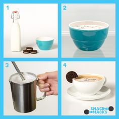 Oreo Snack Hack: Oreo Coffee - 2 Double Stuf Oreo cookies; 1 cup milk; 1 shot espresso. Click to see the full recipe for this Oreo Snack Hack on our Tumblr.