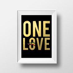 One Love Rasta Colors Art Bob Marley Art by JamrockDesign on Etsy