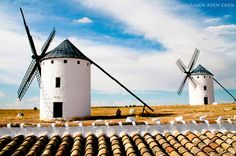"""Group of windmills in Campo de Criptana, Ciudad Real, Castilla-La Mancha, Spain.    """"At this point they caught sight of thirty or forty windmills which were standing on the plain..."""" Thus begins chapter VIII of Don Quixote."""