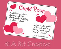 Cute Valentine idea! Cupid Poop DIY candy tag - A Bit Creative by Angee Perry. $3.99 #IBHandmade #dteam